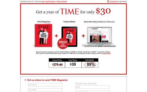 Screenshot of Landing Page time.com - Time Magazine: Order Now! - captured Nov. 4, 2016
