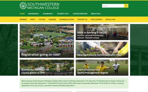 Screenshot of Home Page swmich.edu - Southwestern Michigan College - Community College In Dowagiac and Niles Michigan - captured Sept. 3, 2015