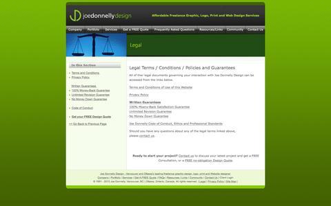 Screenshot of Terms Page joedonnellydesign.com - Legal Terms - Joe Donnelly Design - Vancouver Graphic Designer | Ottawa Graphic Designer | Freelance Designer | Logo Design | Corporate Identity | Website Design - captured Jan. 9, 2016