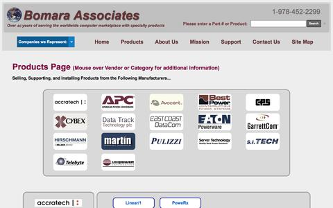 Screenshot of Products Page bomara.com - Bomara Associates a direct sales & support office for these products: - captured Feb. 7, 2016