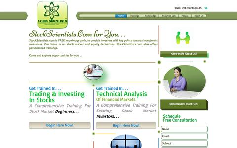 Screenshot of Home Page stockscientists.com - Stock Market Training and Investment Knowledge Bank - captured Nov. 7, 2017