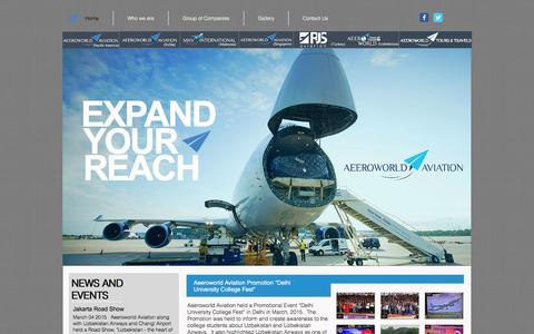 Screenshot of Home Page aeeroworld.com - Aeeroworld Aviation - captured Feb. 5, 2016