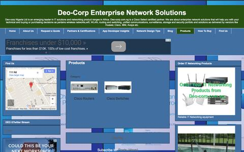 Screenshot of Products Page deo-corp.com.ng - Deo-Corp Enterprise Network Solutions: Products - captured Feb. 9, 2016