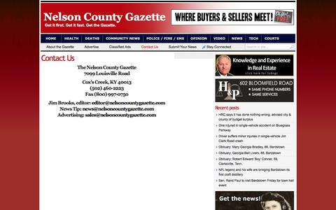Screenshot of Contact Page nelsoncountygazette.com - Contact Us | Nelson County Gazette - captured Feb. 15, 2016