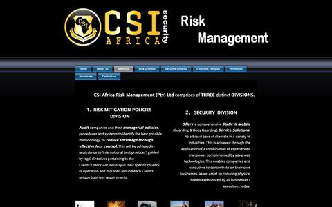 Screenshot of Services Page csiafrica.com - CSI Africa SECURITY DIVISION - captured Sept. 29, 2018
