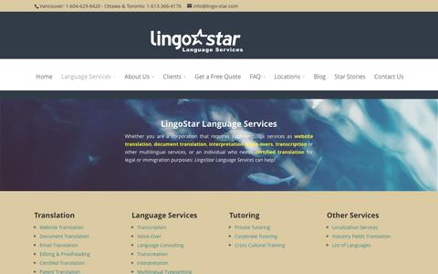 Screenshot of Services Page lingo-star.com - Certified Translation and Language Services - captured Jan. 30, 2016