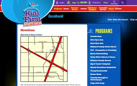 Screenshot of Maps & Directions Page kidsfirstsports.com - Directions | Contact | Kids First Sports Center - captured Oct. 6, 2014