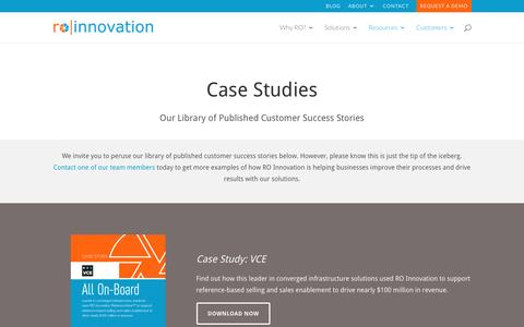 Screenshot of Case Studies Page roinnovation.com - RO Innovation Case Study Library - captured Aug. 15, 2016