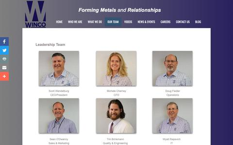 Screenshot of Team Page wincostamping.com - Our Team - captured Oct. 20, 2018