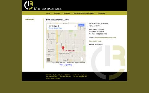 Screenshot of Contact Page r3investigations.com - Arizona private investigator – R3 Investigations – professional services for attorneys and businesses - captured Sept. 30, 2014