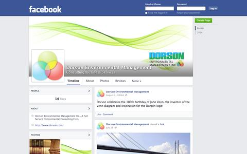 Screenshot of Facebook Page facebook.com - Dorson Environmental Management - Elmsford, New York - Consulting/Business Services | Facebook - captured Oct. 23, 2014