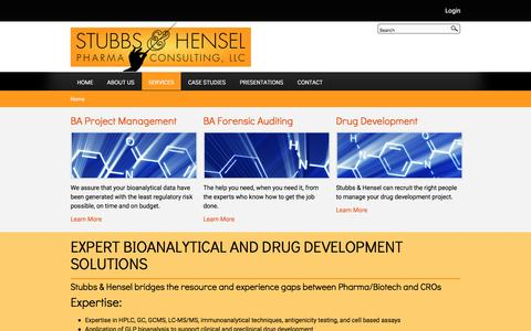 Screenshot of Services Page stubbs-hensel.com - EXPERT BIOANALYTICAL AND DRUG DEVELOPMENT SOLUTIONS | Stubbs & Hensel - captured Dec. 17, 2016