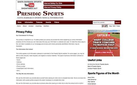 Screenshot of Privacy Page presidiosports.com - Privacy Policy — Presidio Sports - captured Nov. 10, 2016