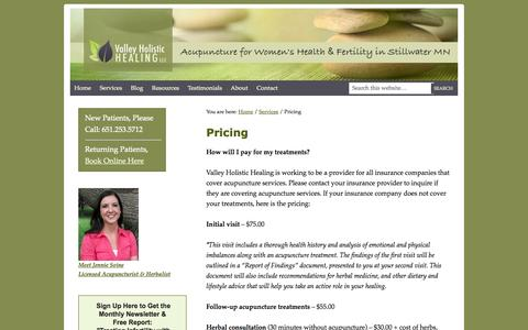 Screenshot of Pricing Page valleyholistichealing.com - Pricing   Valley Holistic Healing   Acupuncture for Women's Health & Fertility in Stillwater MN - captured Oct. 7, 2014