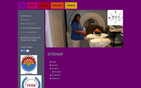 Screenshot of Site Map Page mggimaging.com - Mobile MRI Services - captured Oct. 3, 2014