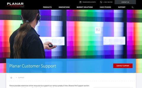 Screenshot of Support Page planar.com - Planar Support | Planar - captured Nov. 20, 2018