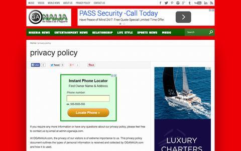 Screenshot of Privacy Page oga9ja.com - privacy policy - captured Nov. 2, 2014