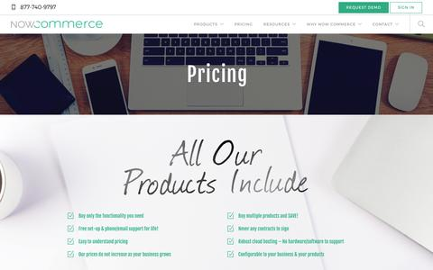 Screenshot of Pricing Page nowcommerce.com - Pricing - Now Commerce - captured July 22, 2016