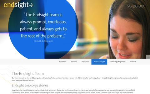 Screenshot of Team Page endsight.net - Oakland Information Technology Firm | San Francisco IT Solutions | Endsight - captured July 14, 2018
