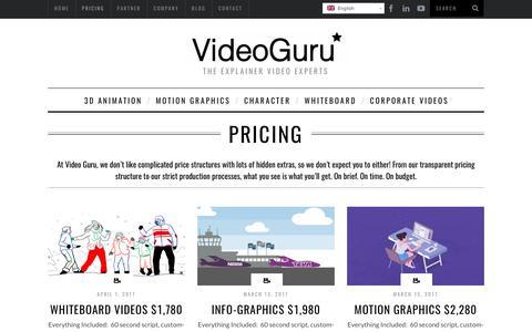 Screenshot of Pricing Page vdo.guru - Video Guru - Explainer Videos Pricing - captured Oct. 26, 2017