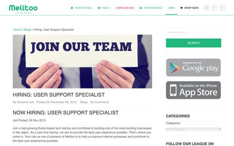 Screenshot of Jobs Page melltoo.me - Hiring: User Support Specialist | Melltoo Mobile Marketplace - captured Jan. 9, 2016