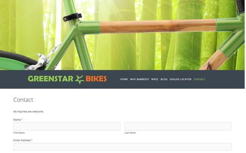 Screenshot of Contact Page greenstarbikes.com - Contact Ń Greenstar Bikes - Affordable Bamboo Bicycles - captured Dec. 1, 2015