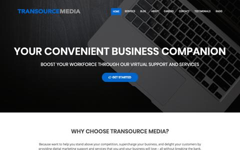 Screenshot of Home Page transourcemedia.com - Transource Media |Transforming Businesses through the Power of Multimedia - captured Nov. 17, 2018