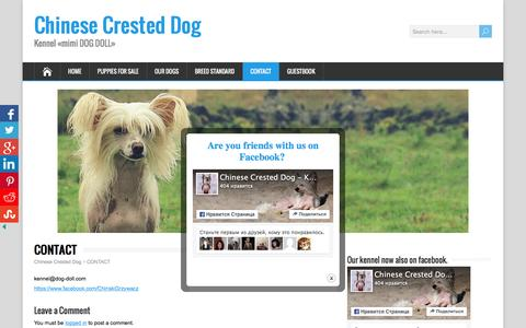 Screenshot of Contact Page dog-doll.com - CONTACT - Chinese Crested Dog - captured May 25, 2016