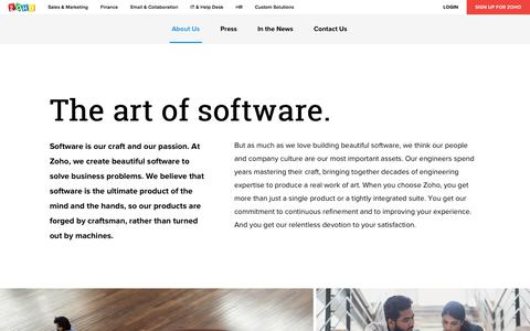 Screenshot of About Page zoho.com - About Zoho - Our Story, List of Products - captured April 11, 2018