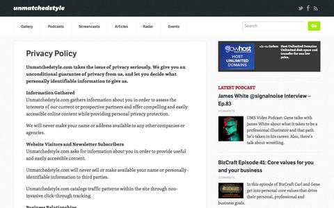 Screenshot of Privacy Page unmatchedstyle.com - Privacy Policy | Unmatched Style - captured Sept. 19, 2014