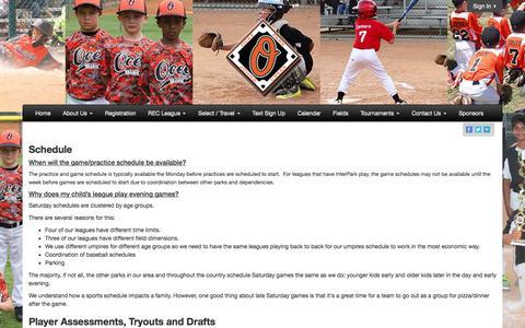 Screenshot of FAQ Page oceepark.com - Ocee Park Athletic Association - captured July 4, 2018