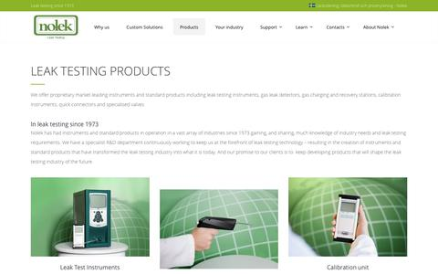 Screenshot of Products Page nolek.com - Quality leak testing and leak detection products - captured Dec. 20, 2016