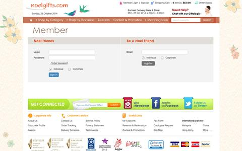 Screenshot of Signup Page noelgifts.com - Member Login : Noelgifts.com - Singapore's Online Gift Shop for Flowers, Gifts and Hampers! - captured Oct. 26, 2014