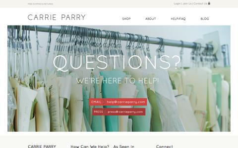 Screenshot of Contact Page carrieparry.com - Contact Us - Carrie Parry - captured Sept. 30, 2014