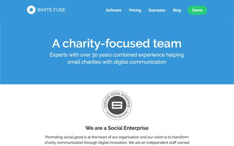 Screenshot of About Page whitefusemedia.com - A charity-focused team | White Fuse - captured Oct. 18, 2018