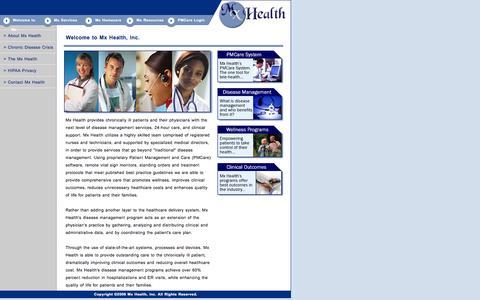 Screenshot of Home Page mxhealth.net - Mx Health - Telehealth & Wellness Programs - captured Feb. 15, 2016