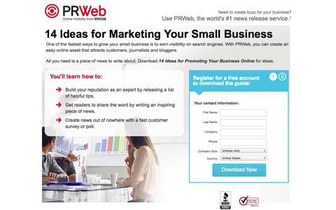 Screenshot of Landing Page prweb.com - Small Business: PRWeb.com - captured Oct. 27, 2014