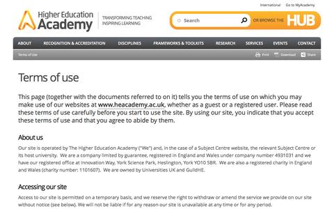 Screenshot of Terms Page heacademy.ac.uk - Terms of use | Higher Education Academy - captured Jan. 29, 2016