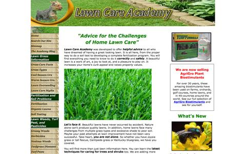 Screenshot of Home Page lawn-care-academy.com - Complete Lawn Care advice- Lawn Care Tips, Zoysia, Fescue, overseeding lawns, - captured Sept. 27, 2015