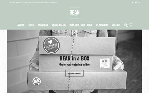 Screenshot of Home Page bean-inabox.co.uk - BEAN in a BOX | Outside and event catering in Derbyshire - captured Dec. 31, 2017