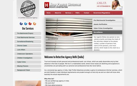Screenshot of Home Page highprofiledetective.com - Hire India Based Detective Agency in Delhi NCR, Mumbai, Gurgaon - High Profile Detective - captured Sept. 28, 2018