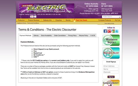 Screenshot of Terms Page theelectricdiscounter.com.au - Terms & Conditions | The Electric Discounter - captured Jan. 18, 2016