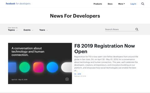 Screenshot of Blog Press Page facebook.com - Facebook for Developers - captured Feb. 28, 2019