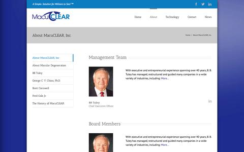 Screenshot of About Page macuclear.com - About MacuCLEAR, Inc. | MacuCLEAR - captured Oct. 1, 2018