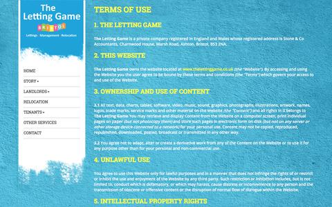 Screenshot of Terms Page thelettinggame.co.uk - Terms of Use | The Letting Game - captured Nov. 16, 2017