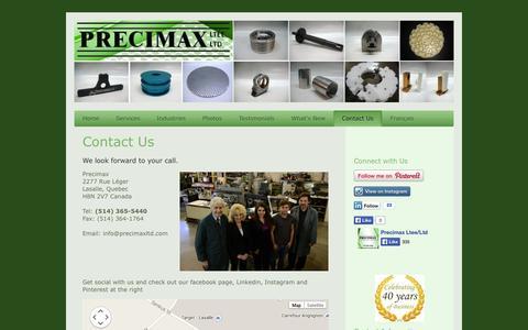 Screenshot of Contact Page precimaxltd.com - Contact Precimax Ltd in Lasalle, Canada Tel: (514) 365-5440 - captured Oct. 3, 2014