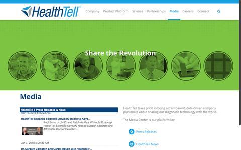 Screenshot of Press Page healthtell.com - Media | Immunosignaturing | HealthTell - captured July 3, 2015