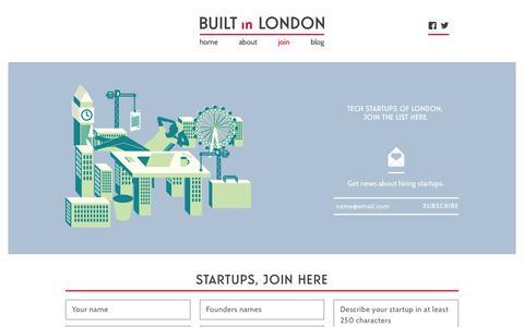 Screenshot of Signup Page builtinlondon.com - Apply to Built in London - Built in London - captured Feb. 5, 2016