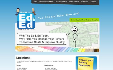 Screenshot of Locations Page edanded.com - New York Office Equipment | Utica Office Equipment | Mailing Equipment Albany | Ed & Ed Business Technology - captured Oct. 1, 2014