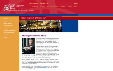 Screenshot of About Page centertheatregroup.org - About   Center Theatre Group - captured Sept. 19, 2014